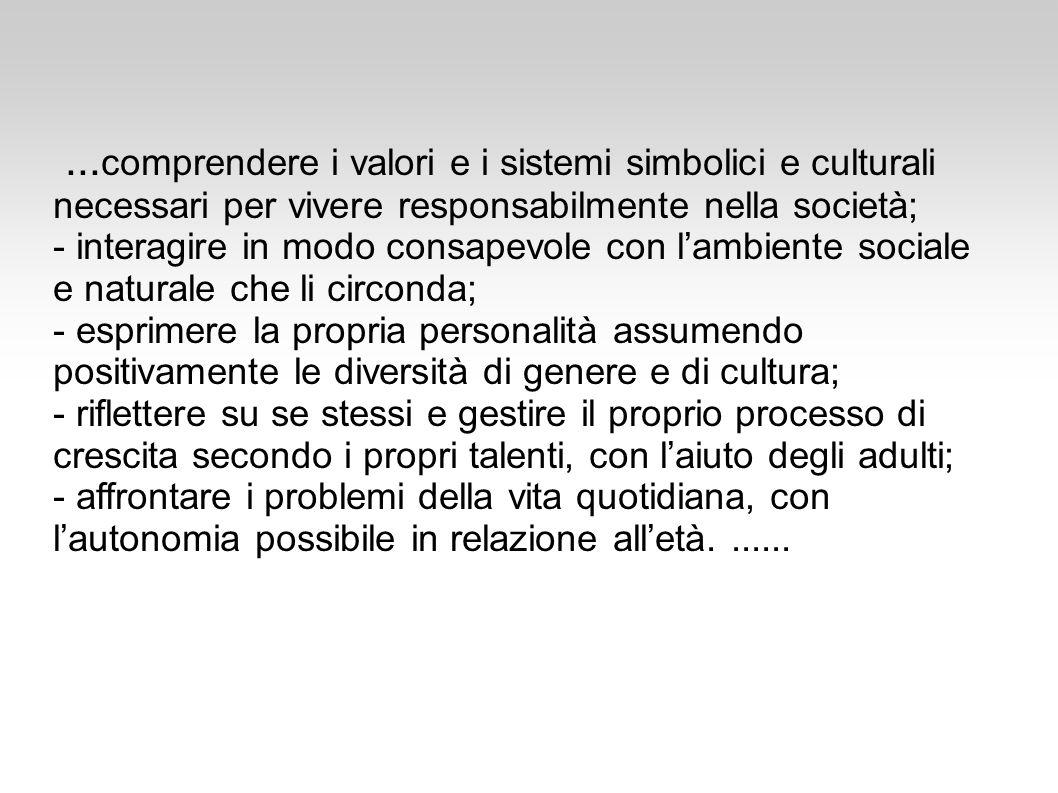 ...comprendere i valori e i sistemi simbolici e culturali necessari per vivere responsabilmente nella società;