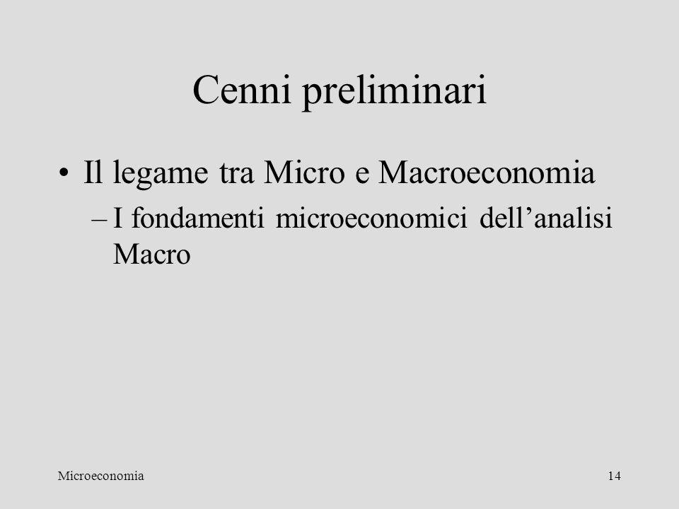Cenni preliminari Il legame tra Micro e Macroeconomia