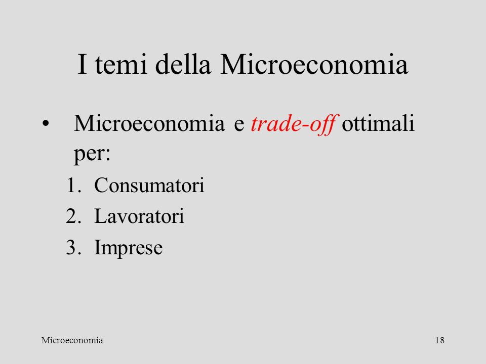 I temi della Microeconomia