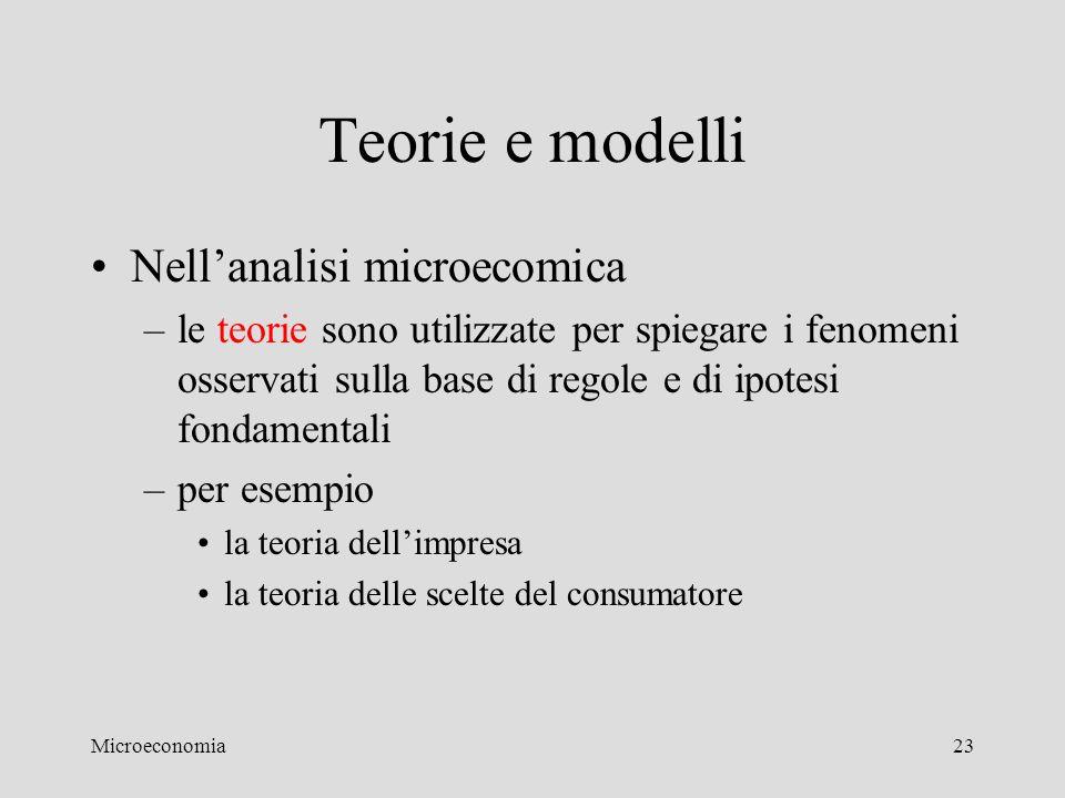 Teorie e modelli Nell'analisi microecomica