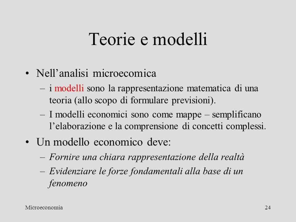 Teorie e modelli Nell'analisi microecomica Un modello economico deve: