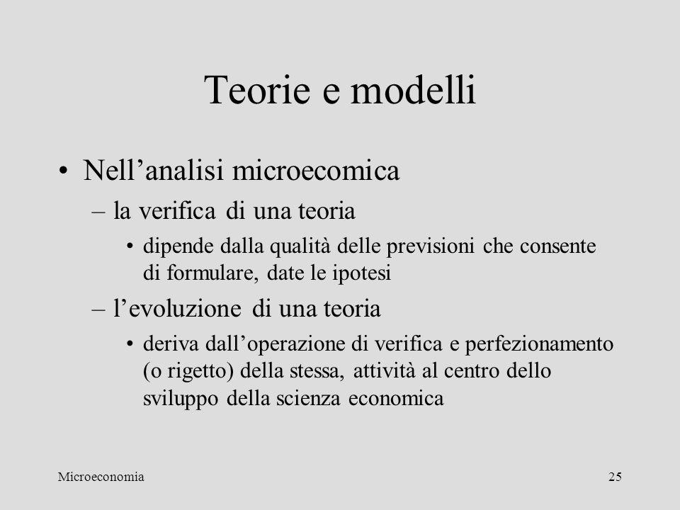 Teorie e modelli Nell'analisi microecomica la verifica di una teoria