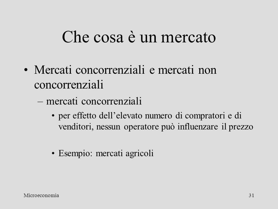 Che cosa è un mercato Mercati concorrenziali e mercati non concorrenziali. mercati concorrenziali.