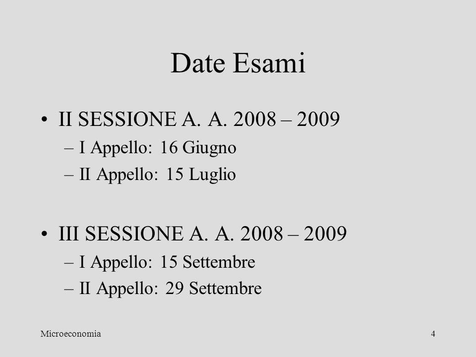 Date Esami II SESSIONE A. A. 2008 – 2009