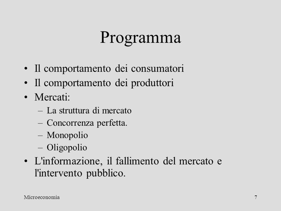Programma Il comportamento dei consumatori