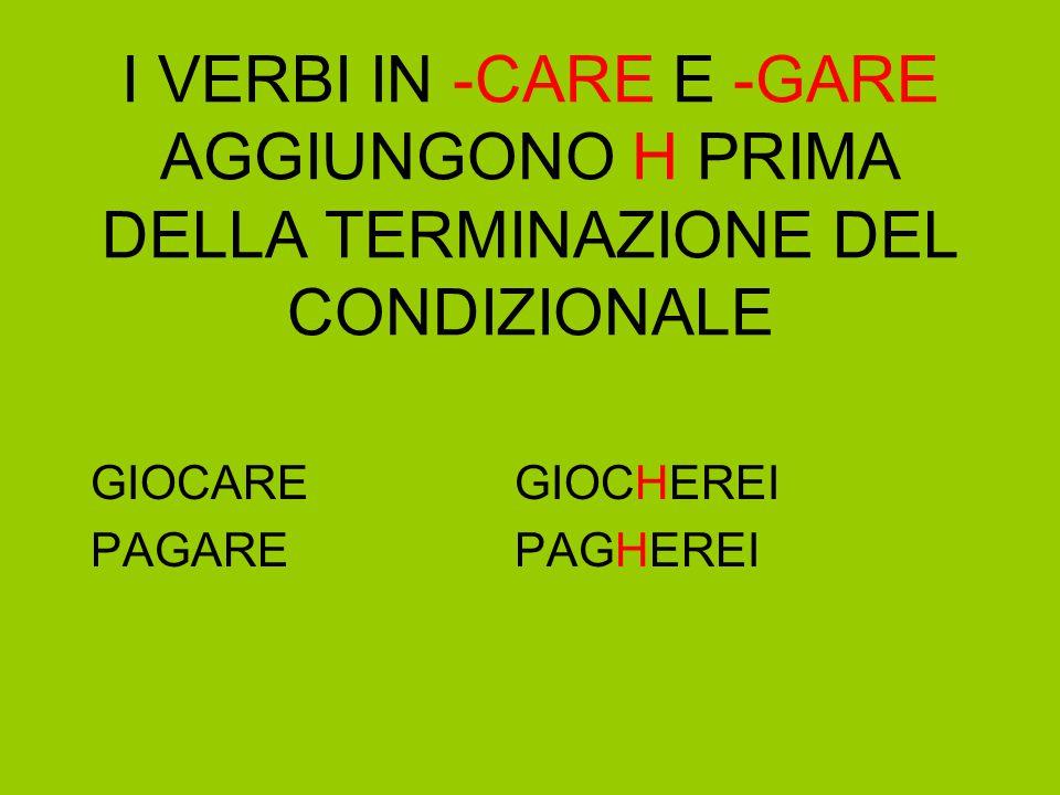 I VERBI IN -CARE E -GARE AGGIUNGONO H PRIMA DELLA TERMINAZIONE DEL CONDIZIONALE