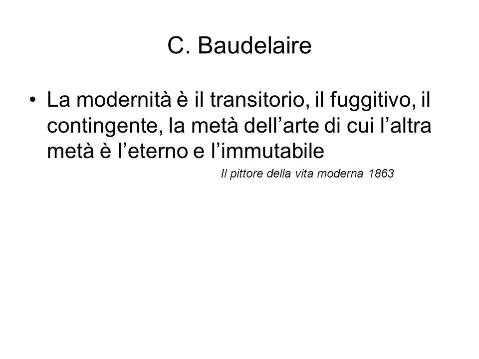 C. Baudelaire La modernità è il transitorio, il fuggitivo, il contingente, la metà dell'arte di cui l'altra metà è l'eterno e l'immutabile.
