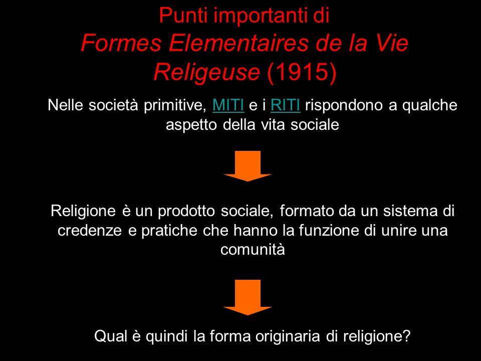 Punti importanti di Formes Elementaires de la Vie Religeuse (1915)