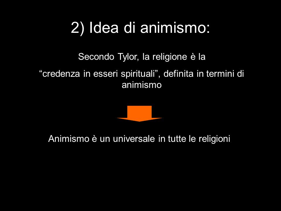 2) Idea di animismo: Secondo Tylor, la religione è la