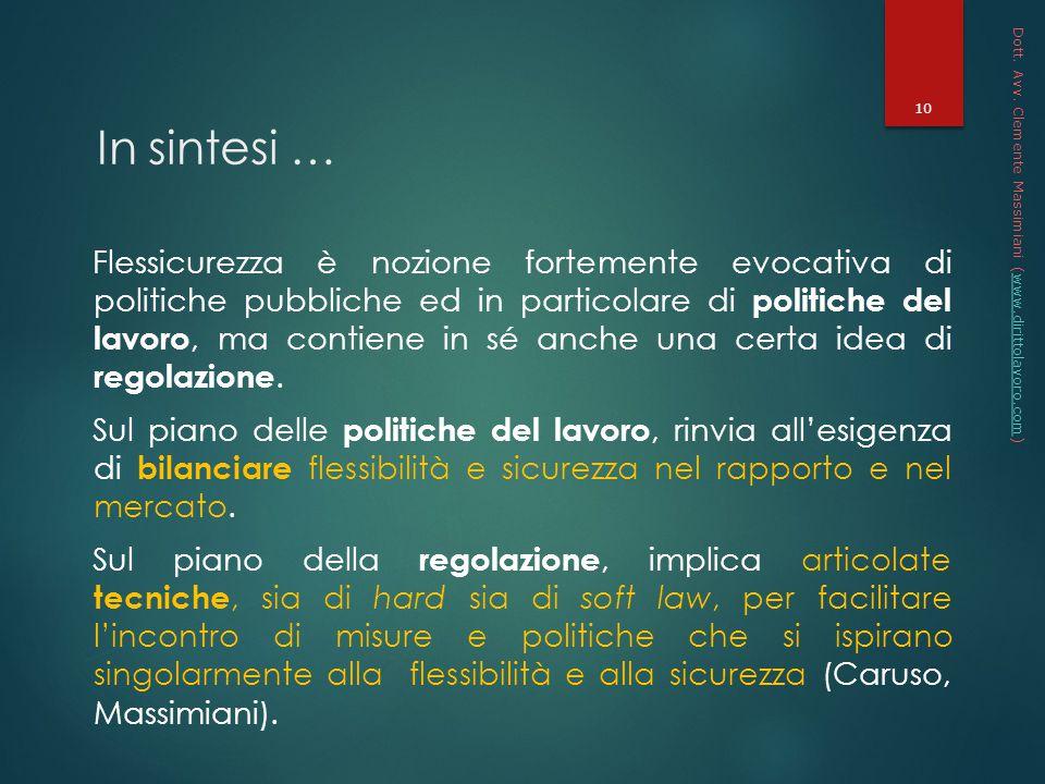 * 16/07/96. Dott. Avv. Clemente Massimiani (www.dirittolavoro.com) In sintesi …