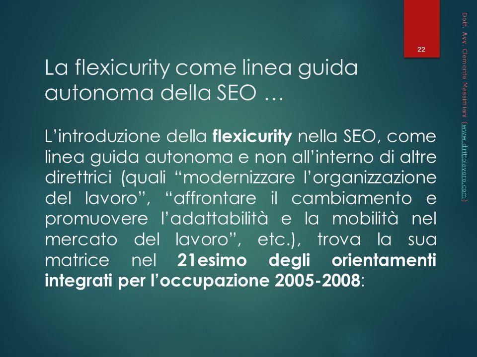 La flexicurity come linea guida autonoma della SEO …