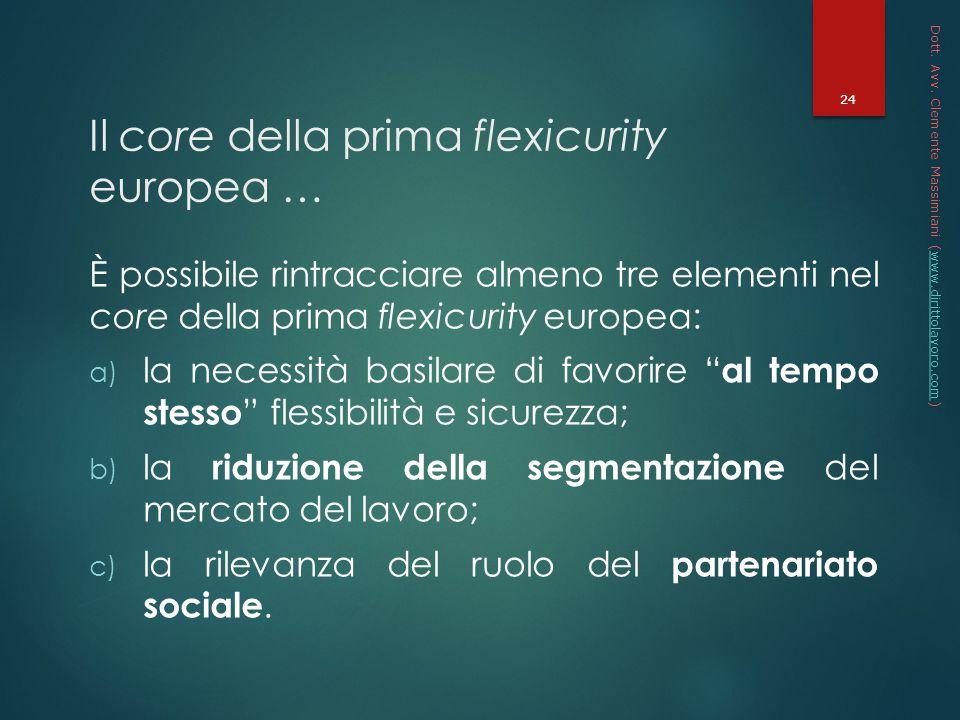 Il core della prima flexicurity europea …