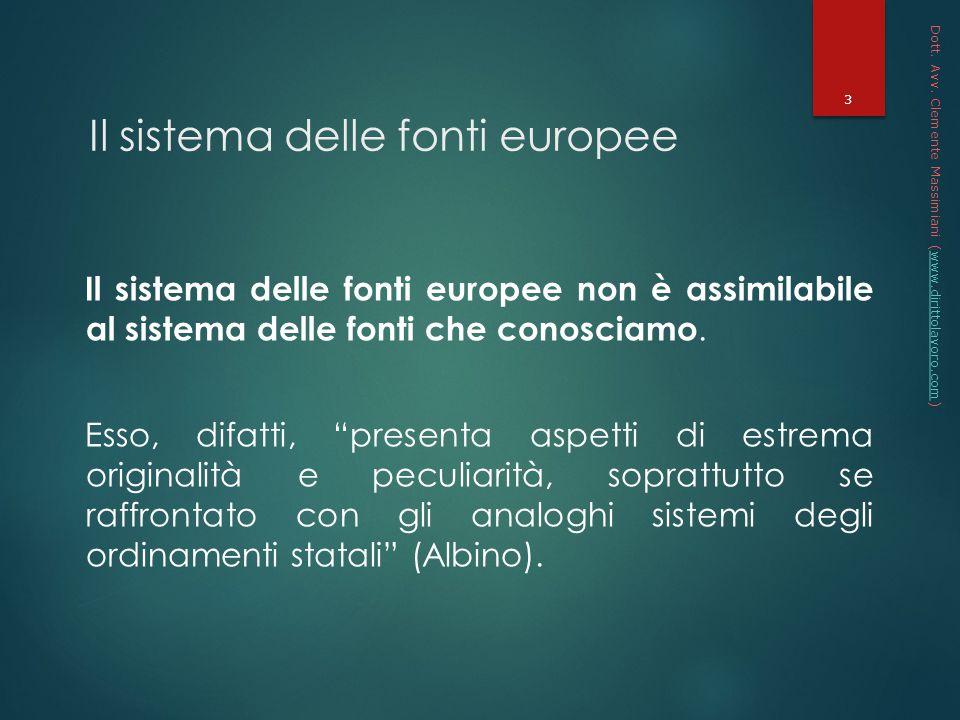 Il sistema delle fonti europee