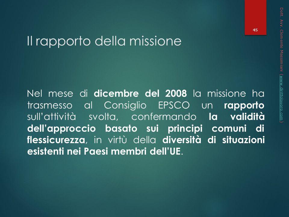 Il rapporto della missione