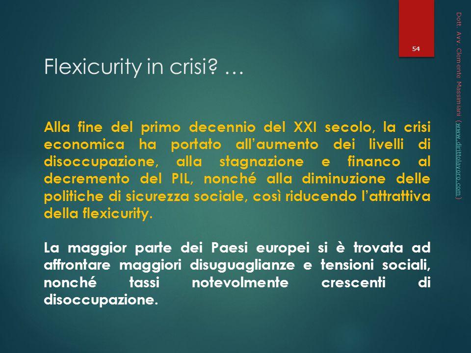 * 16/07/96. Dott. Avv. Clemente Massimiani (www.dirittolavoro.com) Flexicurity in crisi …