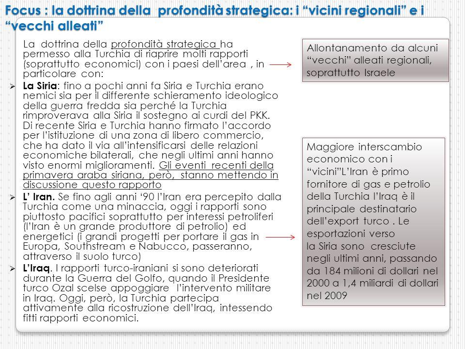 Focus : la dottrina della profondità strategica: i vicini regionali e i vecchi alleati