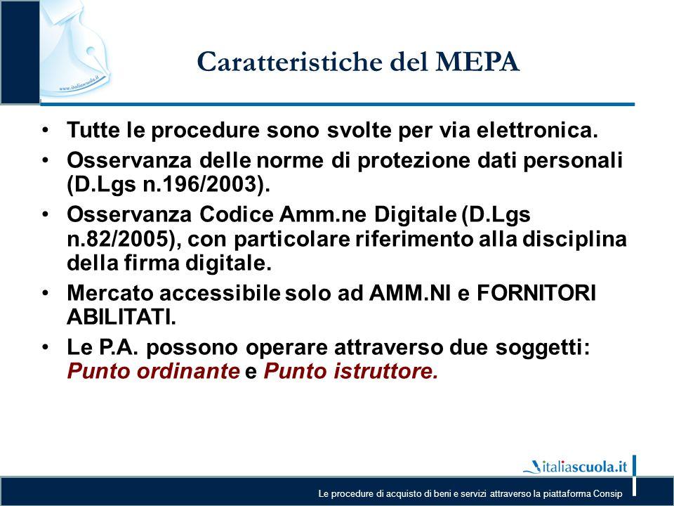 Caratteristiche del MEPA