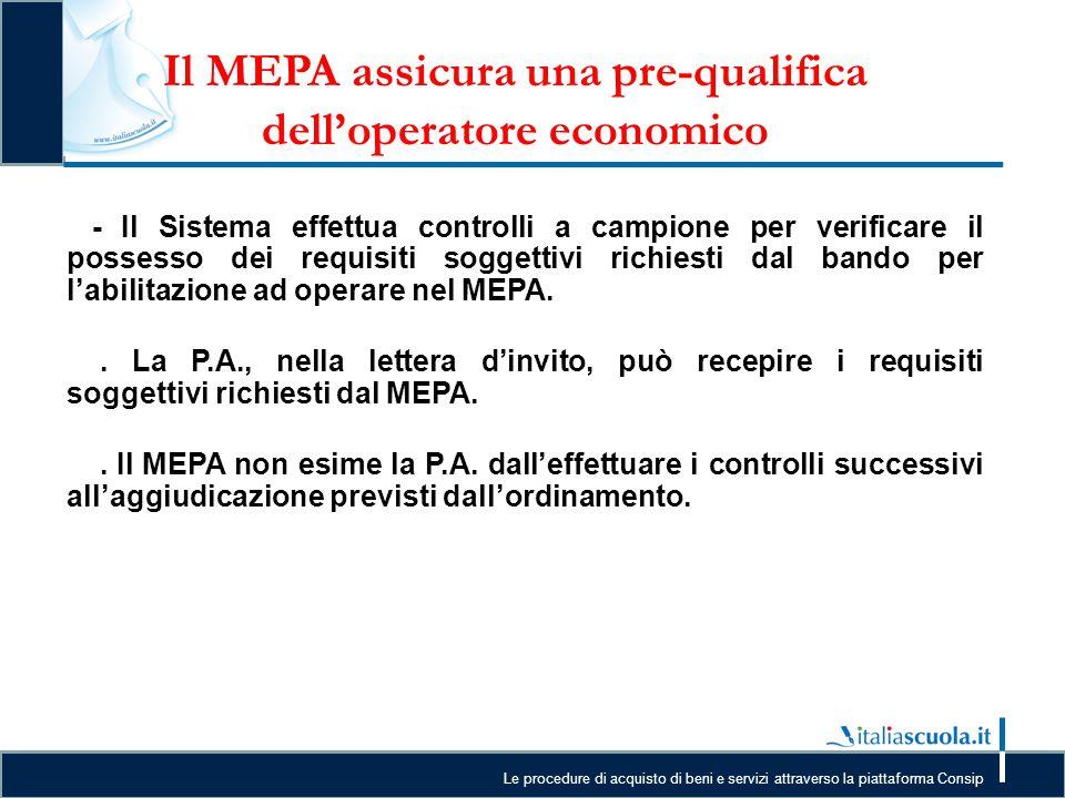 Il MEPA assicura una pre-qualifica dell'operatore economico