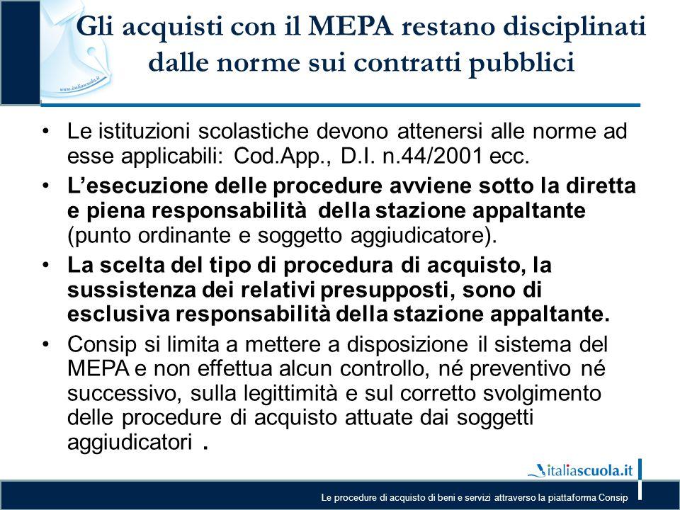 Gli acquisti con il MEPA restano disciplinati dalle norme sui contratti pubblici