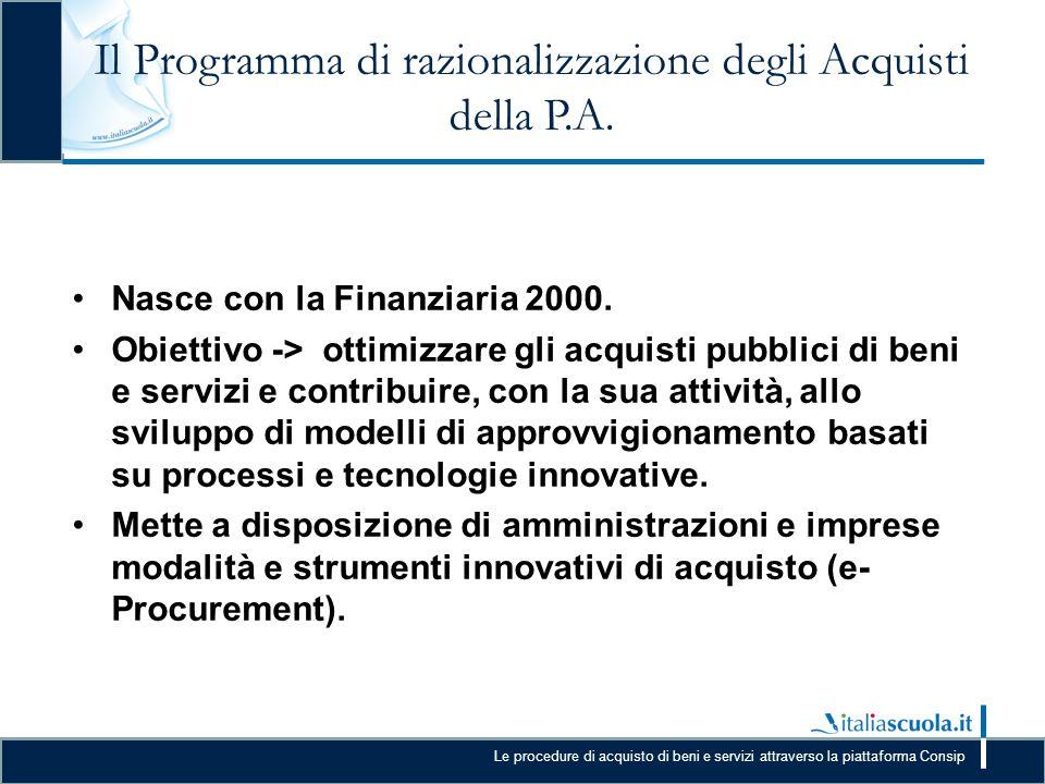 Il Programma di razionalizzazione degli Acquisti della P.A.