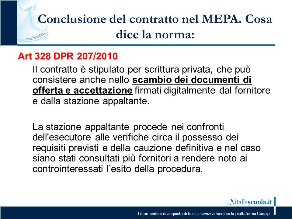 Conclusione del contratto nel MEPA. Cosa dice la norma: