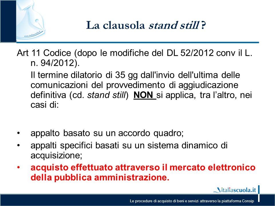 La clausola stand still