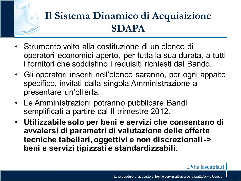 Il Sistema Dinamico di Acquisizione SDAPA