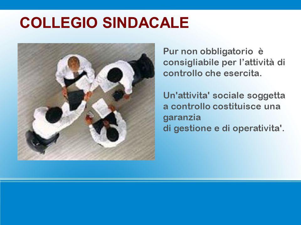 COLLEGIO SINDACALE Pur non obbligatorio è consigliabile per l'attività di controllo che esercita.
