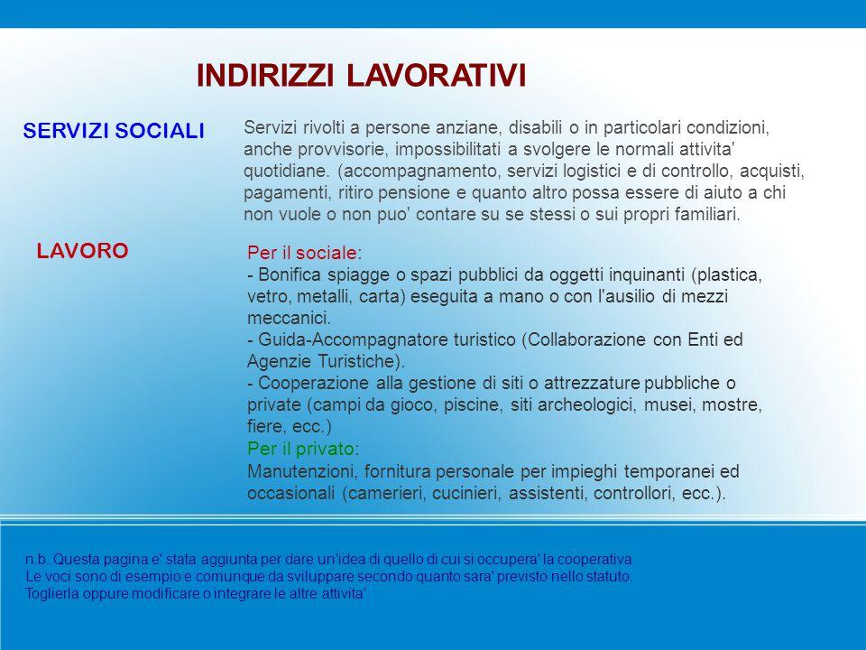 INDIRIZZI LAVORATIVI SERVIZI SOCIALI LAVORO Per il sociale: