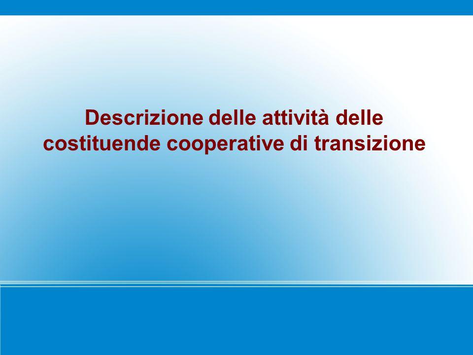 Descrizione delle attività delle costituende cooperative di transizione