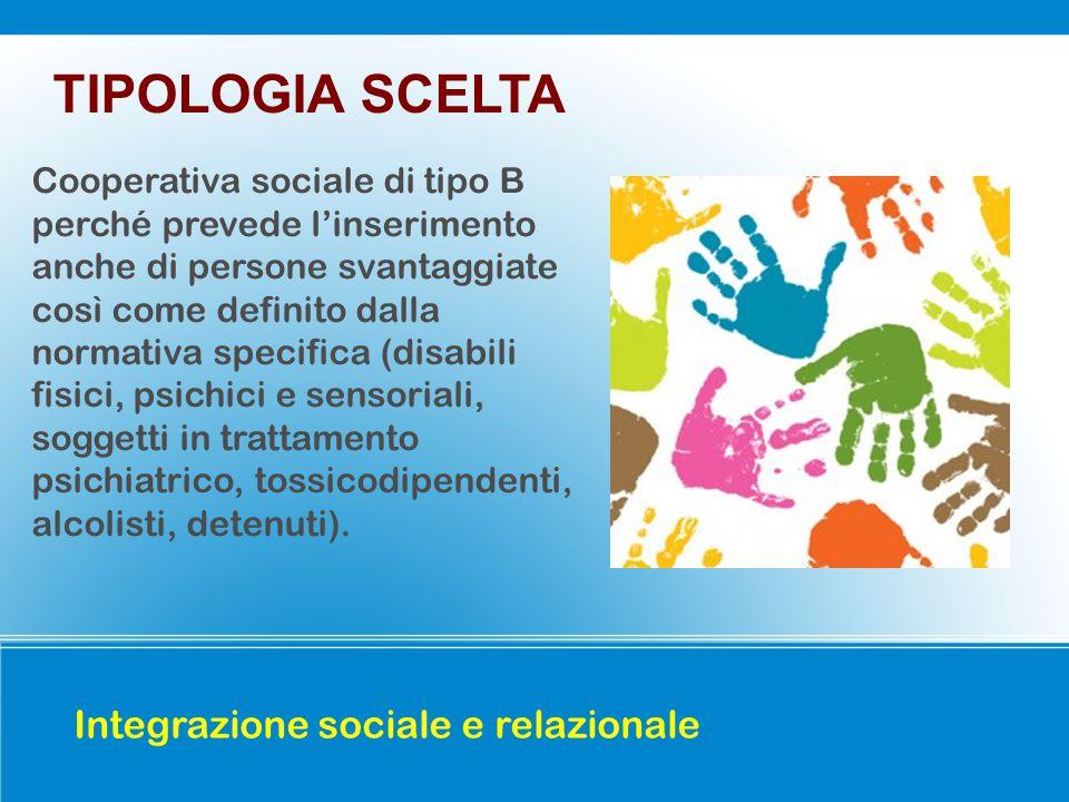 TIPOLOGIA SCELTA Integrazione sociale e relazionale