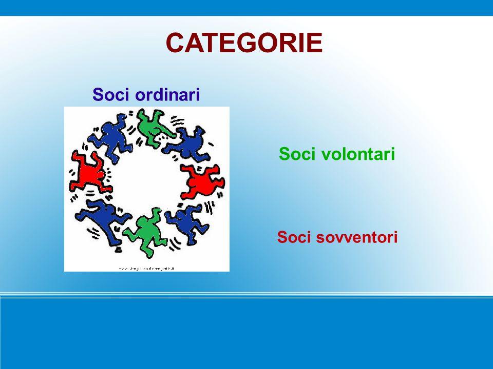 CATEGORIE Soci ordinari Soci volontari Soci sovventori 9