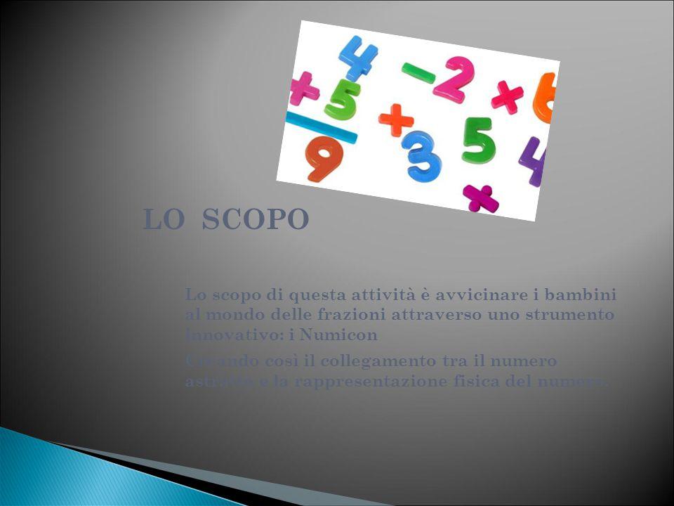 LO SCOPO Lo scopo di questa attività è avvicinare i bambini al mondo delle frazioni attraverso uno strumento innovativo: i Numicon.