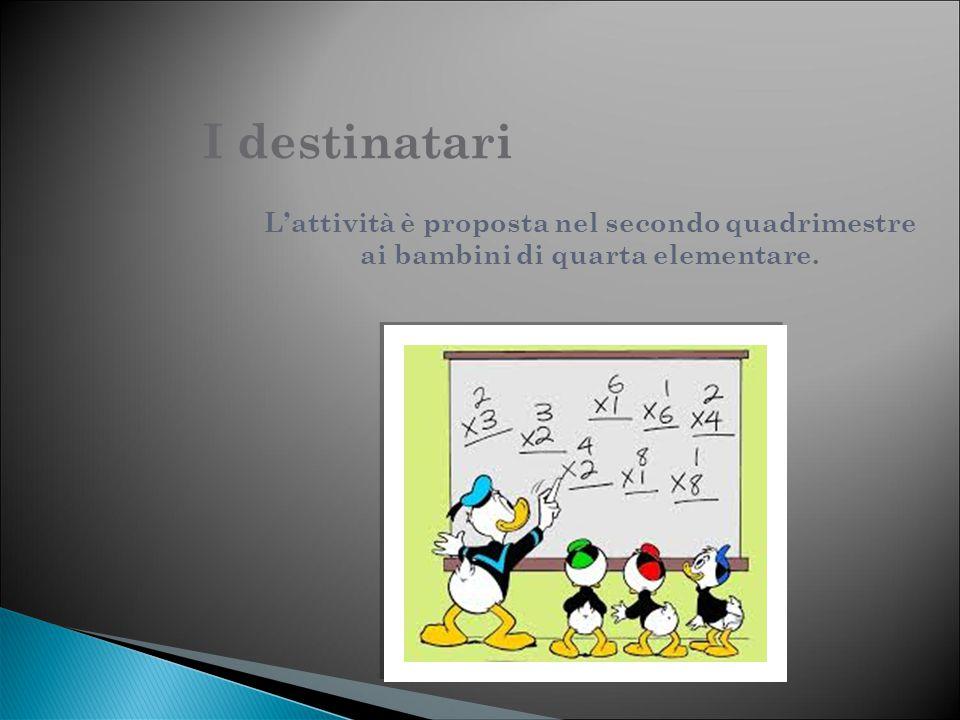 I destinatari L'attività è proposta nel secondo quadrimestre ai bambini di quarta elementare.