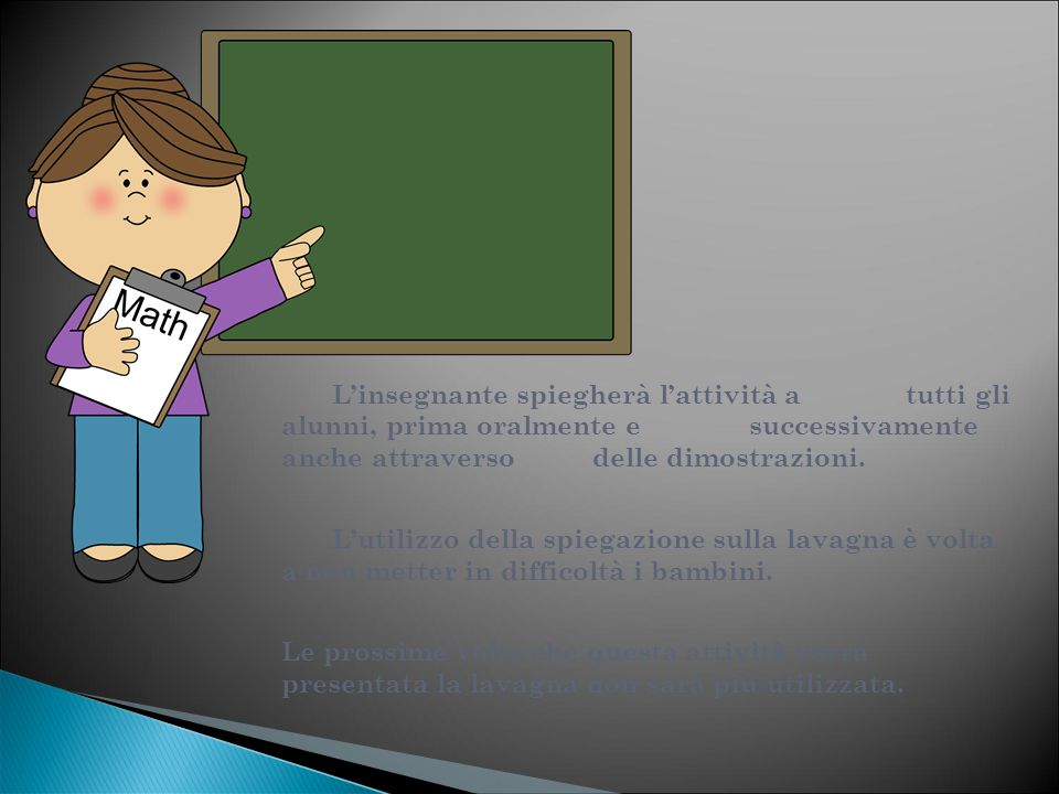 L'insegnante spiegherà l'attività a