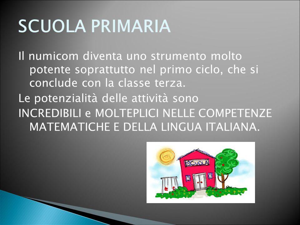 SCUOLA PRIMARIA Il numicom diventa uno strumento molto potente soprattutto nel primo ciclo, che si conclude con la classe terza.