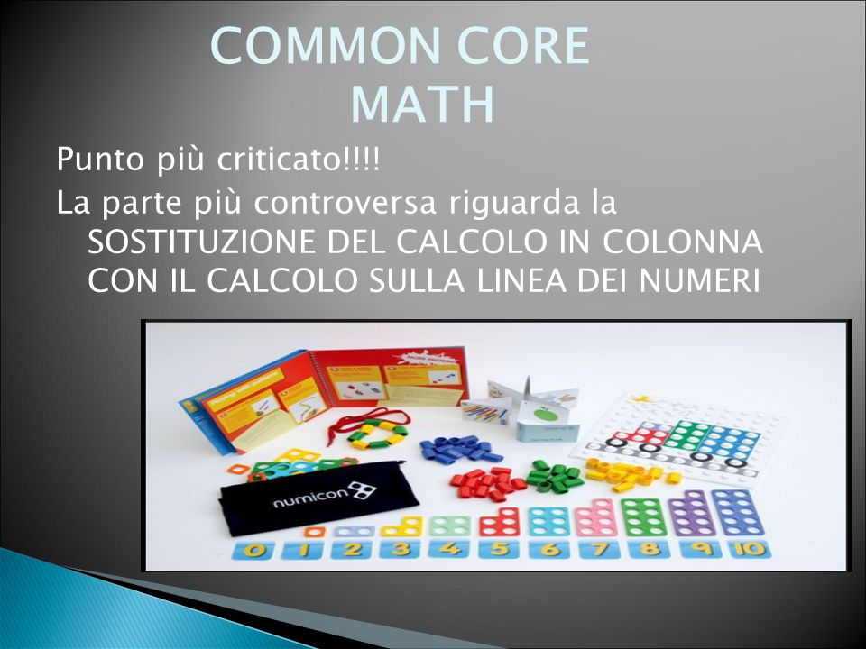 COMMON CORE MATH Punto più criticato!!!!