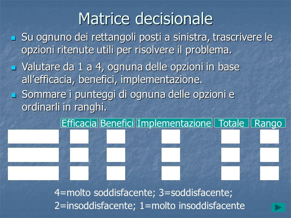 Matrice decisionale Su ognuno dei rettangoli posti a sinistra, trascrivere le opzioni ritenute utili per risolvere il problema.