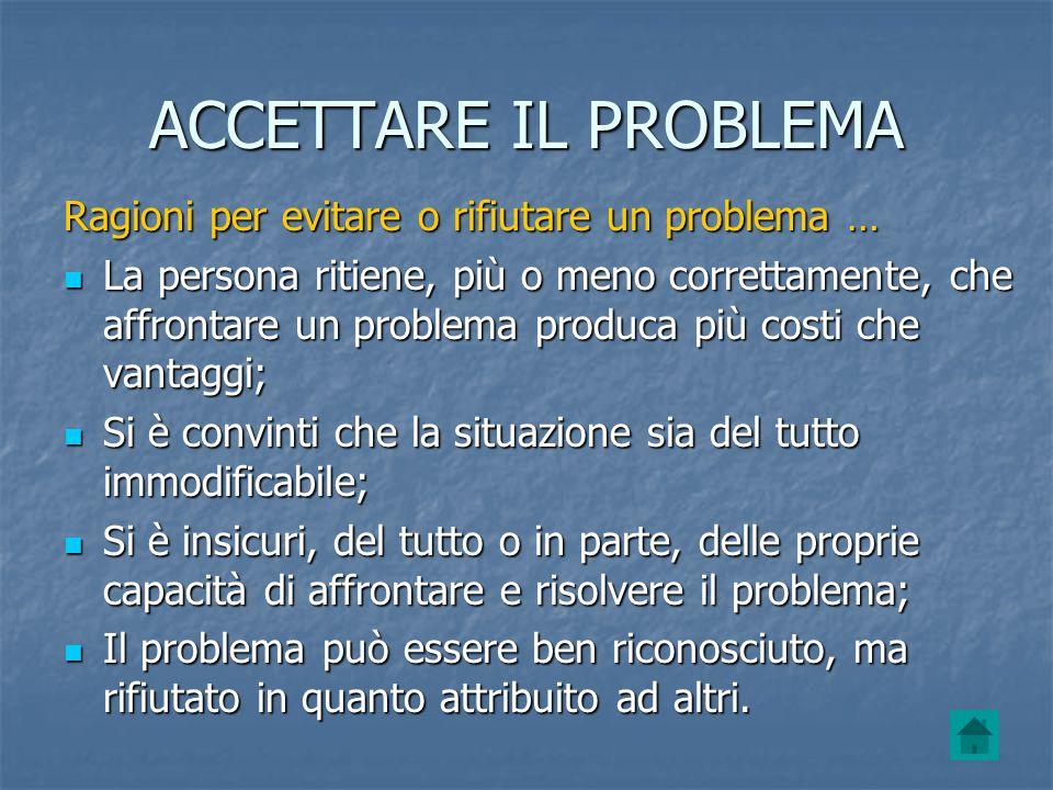 ACCETTARE IL PROBLEMA Ragioni per evitare o rifiutare un problema …