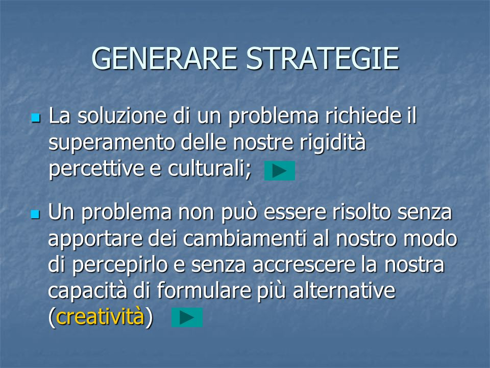 GENERARE STRATEGIE La soluzione di un problema richiede il superamento delle nostre rigidità percettive e culturali;