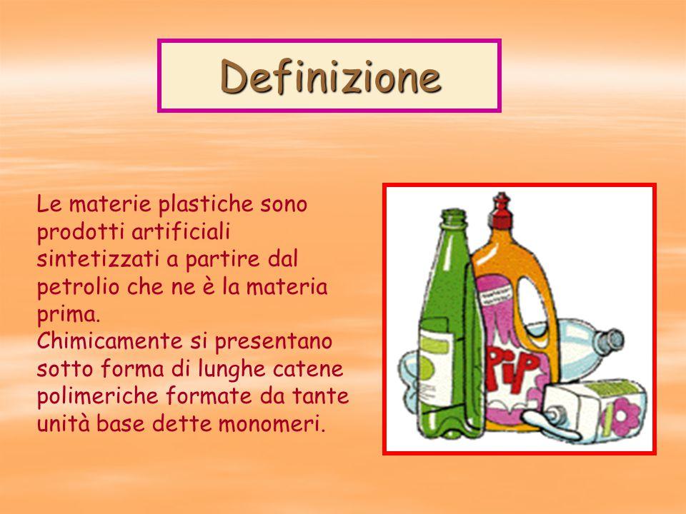Definizione Le materie plastiche sono prodotti artificiali sintetizzati a partire dal petrolio che ne è la materia prima.