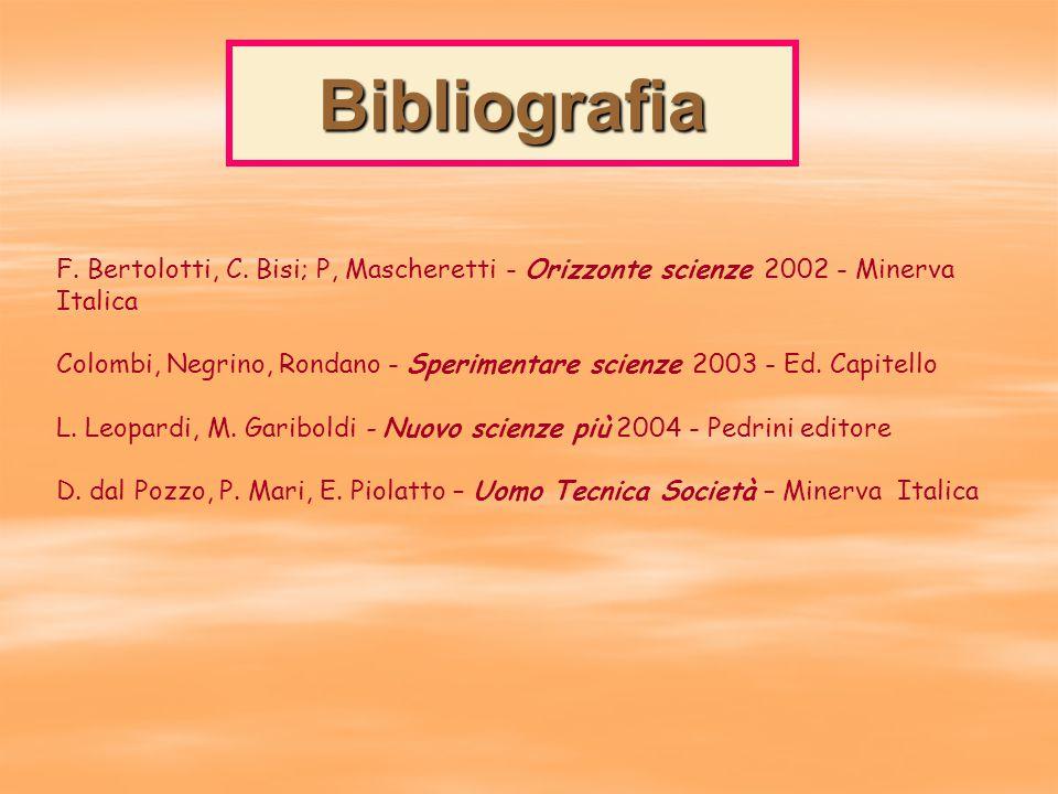 Bibliografia F. Bertolotti, C. Bisi; P, Mascheretti - Orizzonte scienze 2002 - Minerva Italica.
