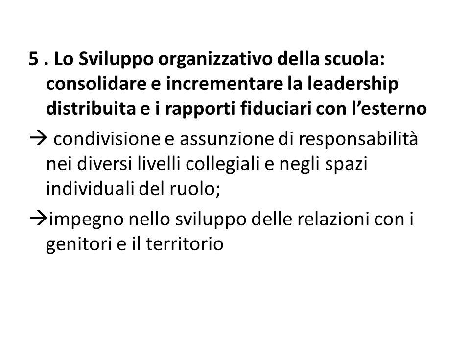5 . Lo Sviluppo organizzativo della scuola: consolidare e incrementare la leadership distribuita e i rapporti fiduciari con l'esterno