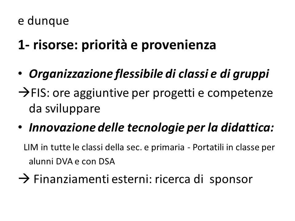 1- risorse: priorità e provenienza