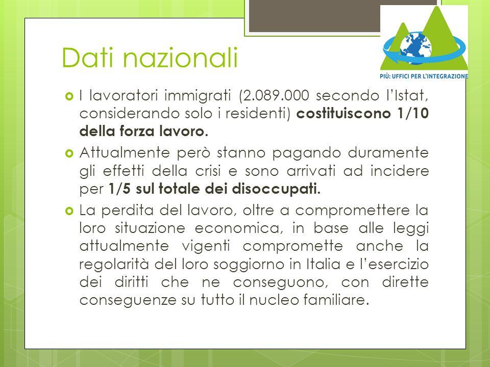 Dati nazionali I lavoratori immigrati (2.089.000 secondo l'Istat, considerando solo i residenti) costituiscono 1/10 della forza lavoro.