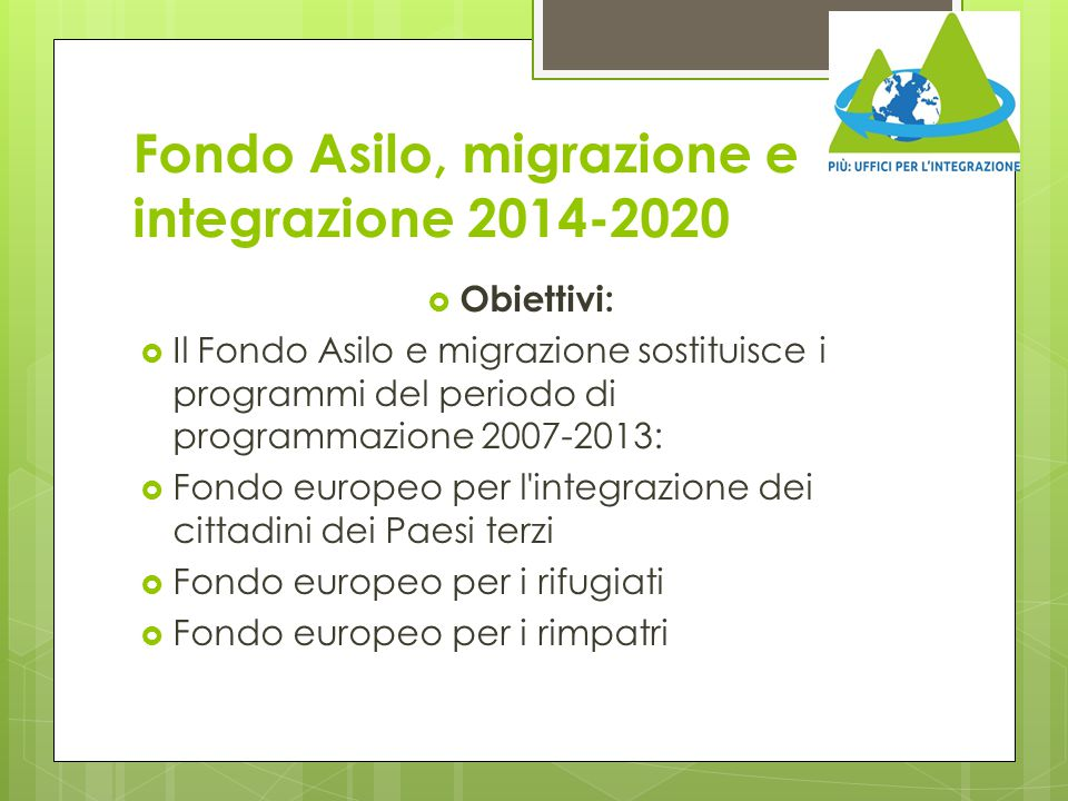Fondo Asilo, migrazione e integrazione 2014-2020
