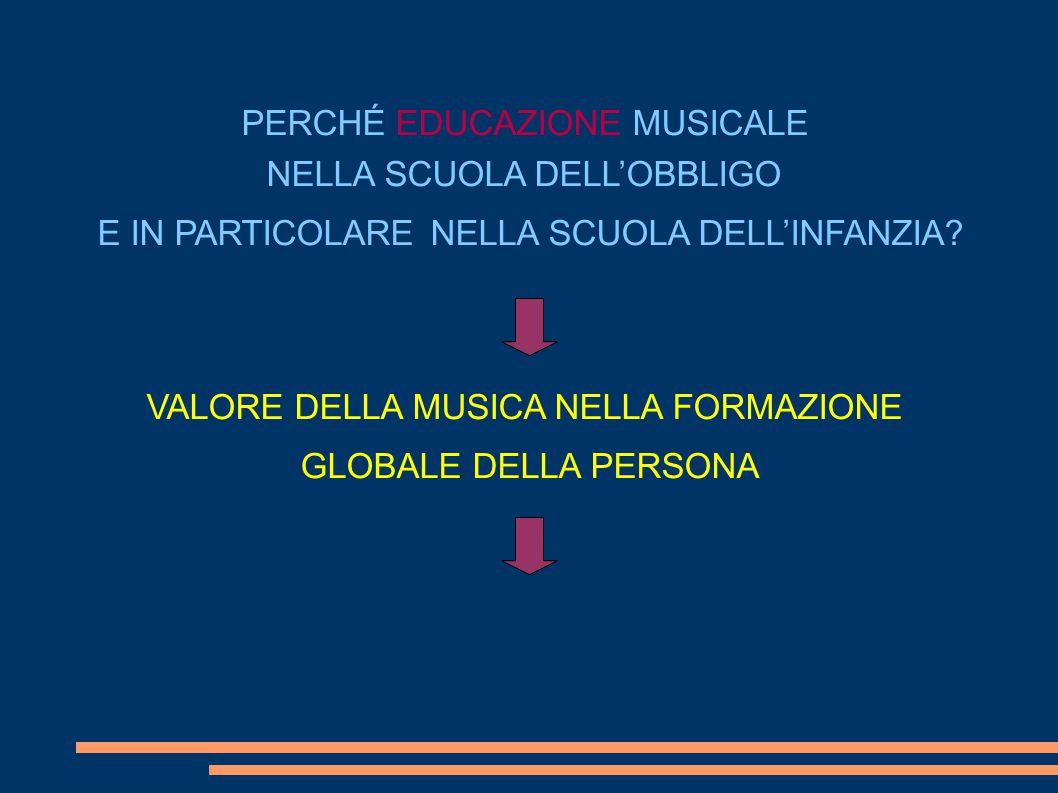 PERCHÉ EDUCAZIONE MUSICALE NELLA SCUOLA DELL'OBBLIGO