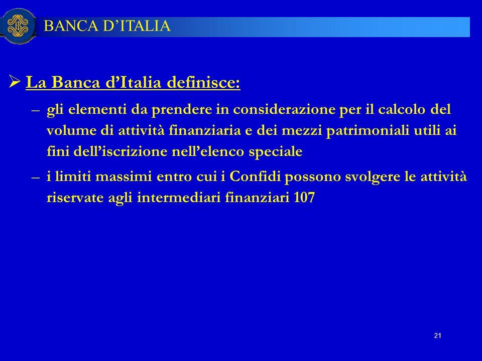 La Banca d'Italia definisce: