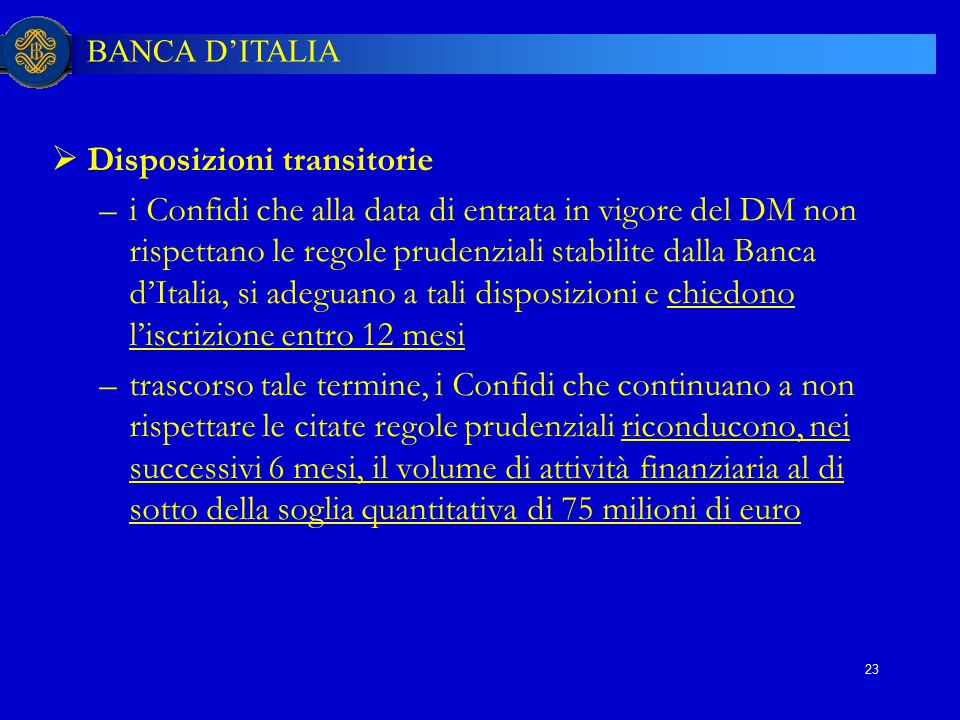 Disposizioni transitorie