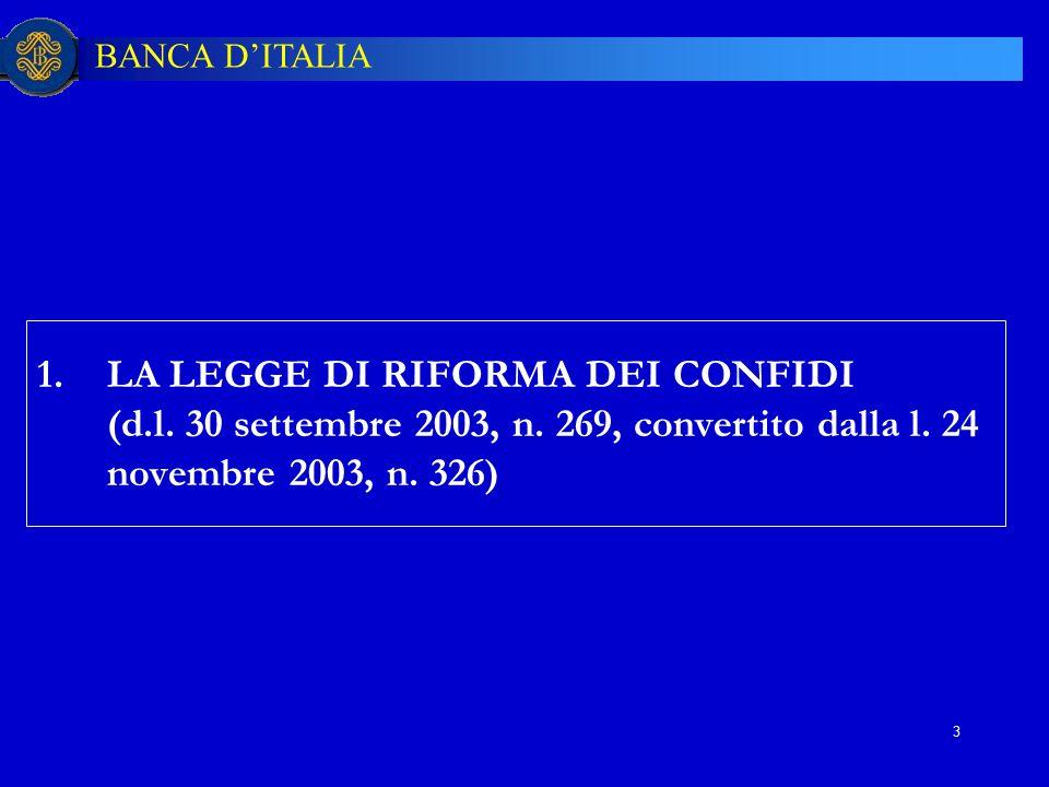 12/04/2017 LA LEGGE DI RIFORMA DEI CONFIDI (d.l. 30 settembre 2003, n.